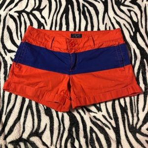 Red and blue shorts!
